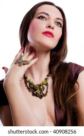portrait of beauty young woman with jewelry