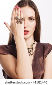 portrait of a beauty young woman with luxury jewelery (isolated)