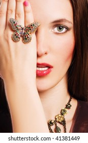 portrait of a beauty young woman with luxury jewelery (colorful)