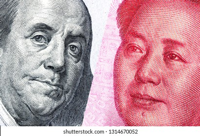 Portrait of Benjamin Franklin against Mao Zedong, 100 US dollars and 100 Chinese yuan