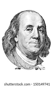 Portrait of Benjamin Franklin in front of the one hundred dollar bill