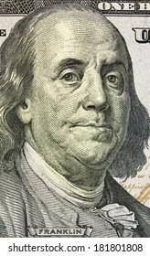 Portrait of Benjamin Franklin macro from one hundred dollars bill, new edition
