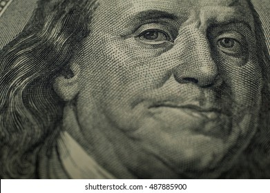 portrait of Benjamin Franklin on the 100 dollars