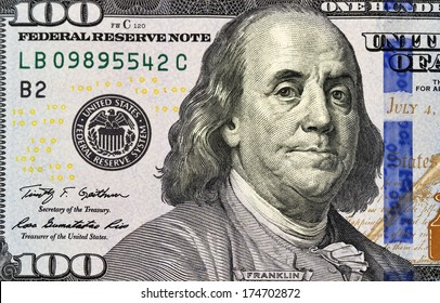 Portrait of Benjamin Franklin from one hundred dollars bill new edition macro