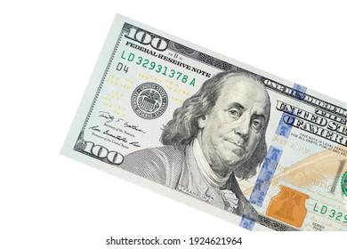 Portrait of Benjamin Franklin from one hundred dollars bill new edition macro.
