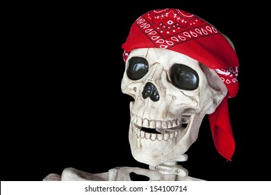 Portrait of a biker skeleton with a red bandana around his head.  Shot on black background.
