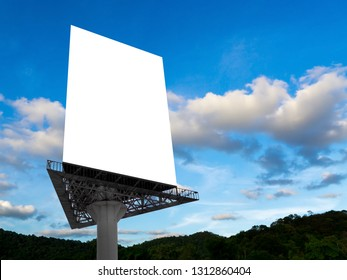 Portrait billboard blank for outdoor advertising poster at blue sky.