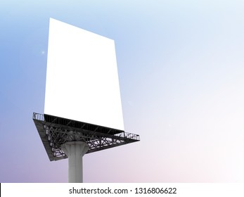 Portrait billboard blank for outdoor advertising poster at sunset sky.