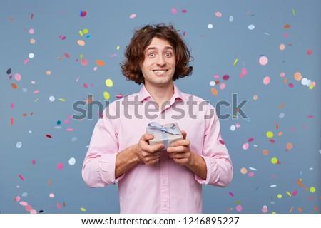 Portrait Birthday Man Takes Photos Gift Stock Photo (Edit
