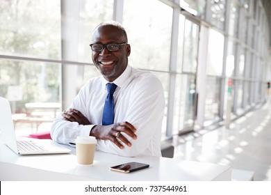 Portrait of a black businessman sitting at a desk
