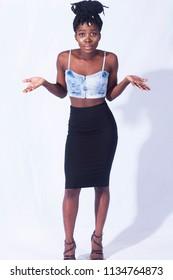 Portrait of a black inquisitive girl