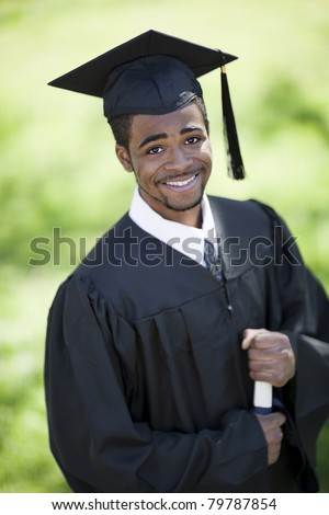 Portrait Black Male Wearing Cap Gown Stock Photo Edit Now 79787854