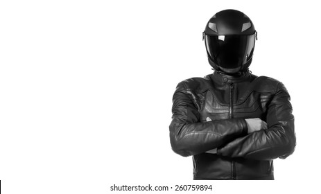 Portrait of black motorcyclist with helmet isolated on white background.