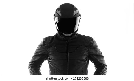 Portrait of black motorcyclist with helmet isolated on white background. Black and white. Silhouette.