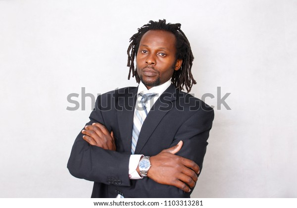A portrait of a black successful, confident Businessman