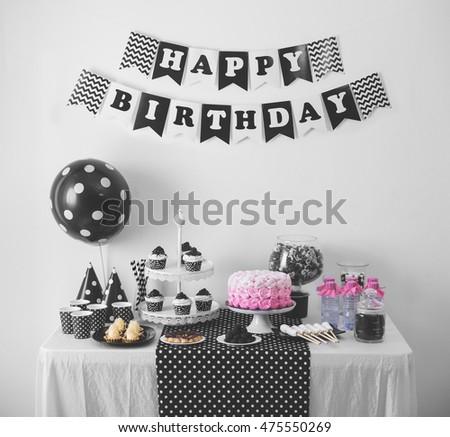 Portrait Black White Birthday Party Decoration Stockfoto Jetzt