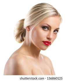 portrait of a blond  beautiful  girl with bright red lips on white background