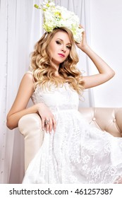 The portrait of a blond hair bride in white dress