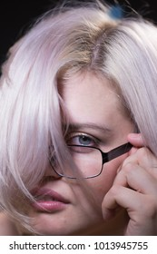 Portrait of the blonde with glasses