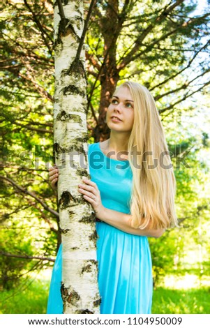 portrait blonde russian woman hug birch stock photo edit now