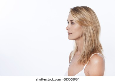 Portrait of a blonde woman in profile