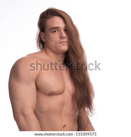 portrait bodybuilder man model long hair stock photo edit now