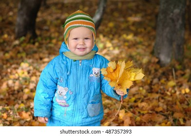 Portrait of boy in autumn forest with maple leaves