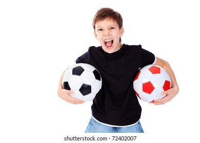 Portrait of a boy with a ball. Isolated over white background.