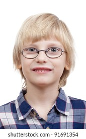 portrait of a boy with blond hair and glasses - isolated on white