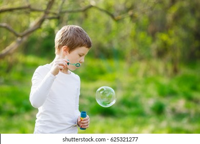 Portrait of boy blowing up the soap bubbles