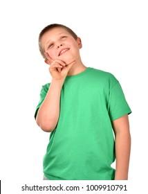 Portrait of a boy. A cheerful boy. Isolated boy. Good mood.