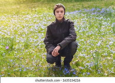 portrait of a boy crouching on a spring meadow with many flowers