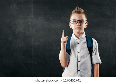 Portrait of a boy from an elementary school on a background of a school board. The concept back to school, knowledge day, the first of September, the beginning of school activities.