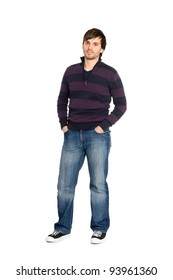 Portrait of boy in full body. Isolated on white background.