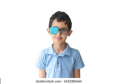 Portrait of boy in glasses with patch. Eye patch for glasses t treat lazy eye, amblyopia, strabismus.
