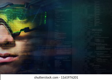 Portrait of a boy with green glasses from real professional gamer and on the graphic background in holography. Concept of: online games, future, technology