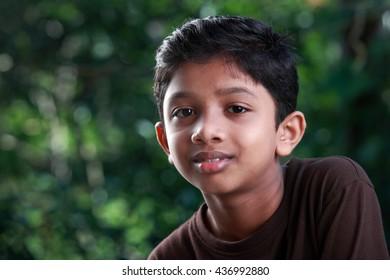 Portrait of a boy of Indian origin in outdoor