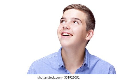 Portrait of a boy looking to the corner, isolated over white background