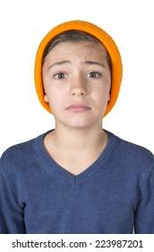 portrait of a boy looking sad