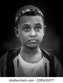 Portrait of a boy from Nubia in traditional clothes, Aswan, southern Egypt, August 12, 2015