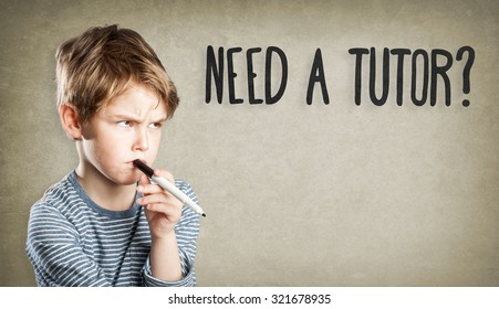 Portrait of boy with pen, Need a tutor?