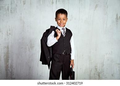 Portrait a boy in school uniform,