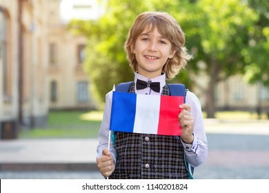 Portrait boy. Schoolboy with the flag of France on the background of the school. The student of college. Learn French.