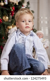 Portrait of Boy in shirt at christmas time