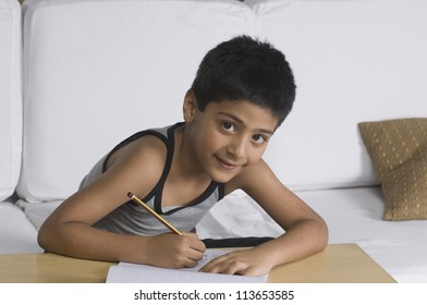 Portrait of a boy sitting on a sofa and writing