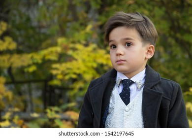 Portrait of a boy with surprise on his face on a background of autumn trees with copy space. A small man dressed in a business suit, a white shirt with a tie, coat. Emotional development in childhood