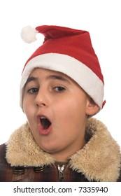 portrait of a boy wearing  santa hat