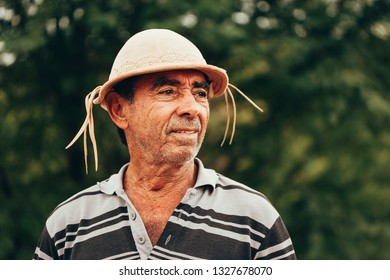 4e475ef654e83 Portrait of Brazilian Northeastern cowboy wearing his typical leather hat.