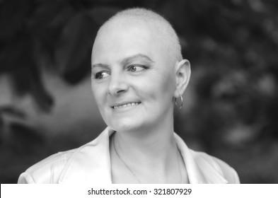 Portrait of the breast cancer survivor with positive attitude.