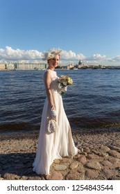 portrait of the bride by the river in Sankt-Peterburg